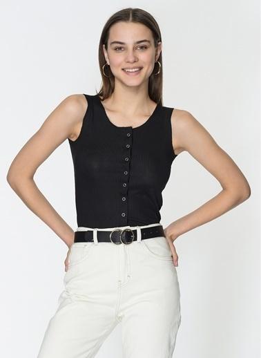 Loves You Çıtçıtlı Kalın Askılı Bluz Siyah